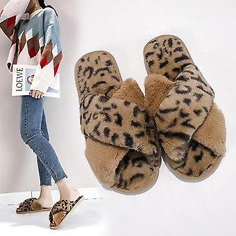 Mulheres Faux Sapatos Planos Quentes, Chinelos Peludos caseiros