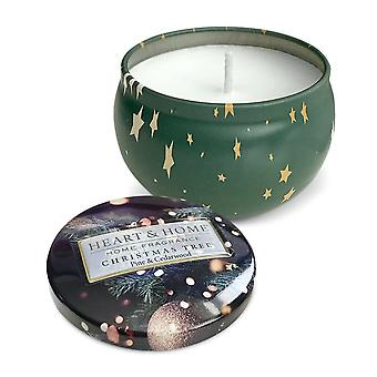 Heart & Home Candle In Tin Christmas Tree