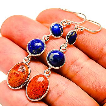 "Sponge Coral, Lapis Lazuli Earrings 2 1/4"" (925 Sterling Silver)  - Handmade Boho Vintage Jewelry EARR409081"