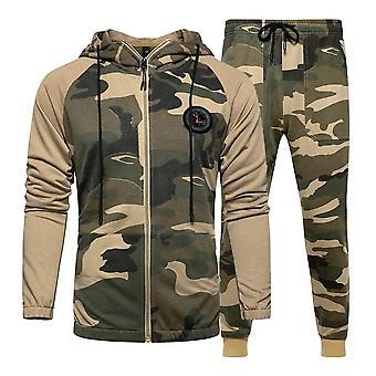 Men Tracksuit Hooded Outerwear Hoodie Set, 2 Pieces Sweatshirts Jacket + Pants