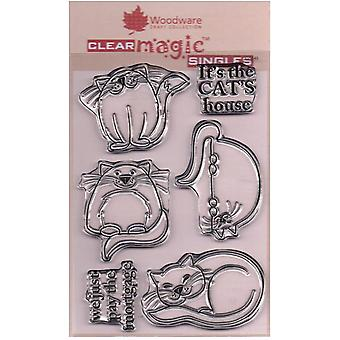 Woodware Clear Stamps - Quatro Felinos Finos
