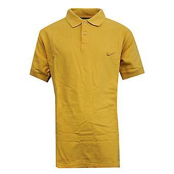 Nike Apparel Boys Kids Yellow Button Up Short Sleeved Polo Shirt 421349 704 A6B