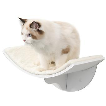 PawHut Wood Cat Shelves Wall-Mounted Shelter Curved Kitten Bed Cat Perch Climber Cat Furniture 41 x 28 x 21cm White