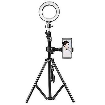 Docooler 6inch ring light with stand and phone holder, dimmable 3-colors standing ring light for tok