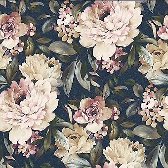 Gardenia Glitter Wallpaper Navy Holden 36072