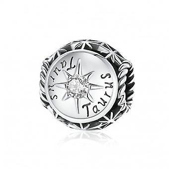 Sterling Sølv Charm Stjernetegn Taurus med Zirconia - 6978