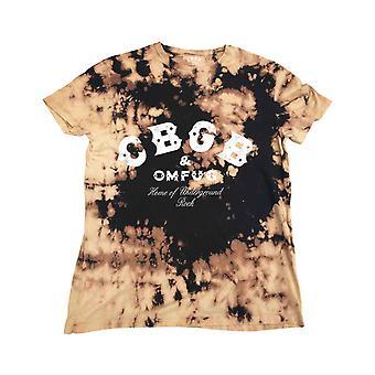 CBGB T Shirt Classic Logo new Official Mens Dip Dye Tan and Black
