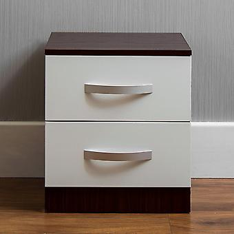 Hulio 2 Drawer Bedside Chest Cabinet High Gloss, Walnut & White