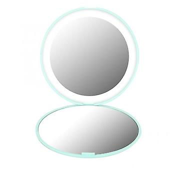 Mini portable lights led makeup mirror 10x magnify hand hold foldable 12 leds pocket makeup mirror light beauty cosmetic tool