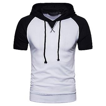 Yunyun Men's Vogue Raglan Sleeve Hooded Casual Short Sleeve T-shirt