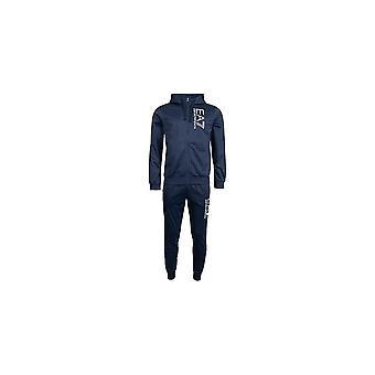 Emporio Armani EA7 hupullinen zip up kuusio logo poly sininen verryttelypuku
