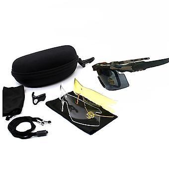 Sport Polarisierte Taktische, Brille Sonnenbrille mit 4-Linsen-Shooting, Brille