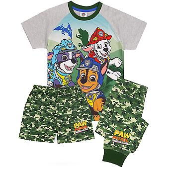 Paw Patrol Pyjamas For Boys | Green Camo PJs T-Shirt With Long Or Short Bottoms | Childrens Roar-Some Rescue Marshall Chase Rex Pajamas Merchandise