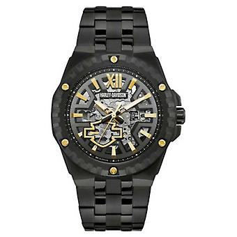 Harley Davidson Men's Automatic Skeleton | Black Steel Bracelet 78A128 Watch