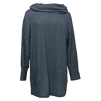 Anybody Women's Sweater Cowl Neck Tunic With Thumbholes Blue A388569