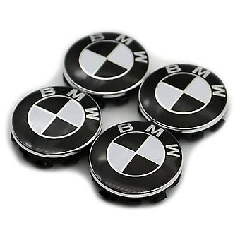 BMW Black Wheel Center Cap Hub Badge 68mm 4 PCS For 13 5 7 Series, X6, M3, Z4, E46, E90
