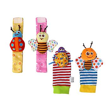 4pcs Bee Ladybug Butterfly Cute Wrist Rattle And Foot Finder Set Cartoon Animal Rattle Toys