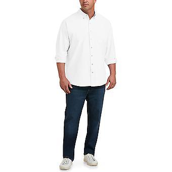 Essentials Men's Big & Tall Long-Sleeve Pocket Oxford Shirt fit by DXL, White, 2XL