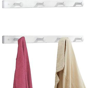 FengChun 2er-Set Hakenleiste aus Holz dezente Wandgarderobe mit 4 Garderobenhaken praktisch