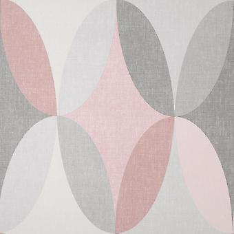 Kirby Oval Geo Pink Wallpaper