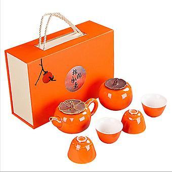 New Arrived Creative Tea Pot Tea Set Gift Box Persimmon Kung-fu Ceramic Customized Log Coffee & Tea Sets 12 Sets All-season