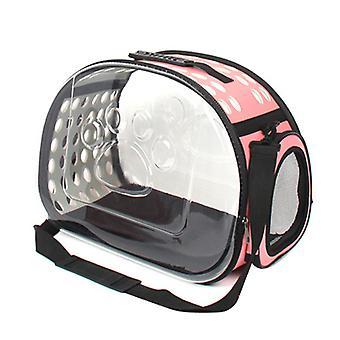 Vikbar husdjur transparent handväska, bärbar utomhus katt ryggsäck