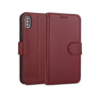 Étui de portefeuille en cuir véritable fente pour carte pour samsung s8 rouge foncé no3399
