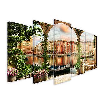 Tableau 5 parties paysage de venise illustré - 150x80 cm