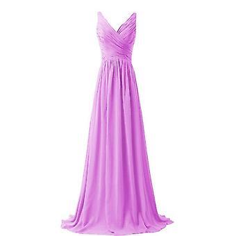 Een lijn Chiffon V hals plooi elegante off-shoulder bruidsmeisje jurken (set 2)
