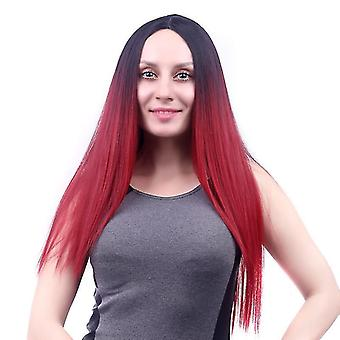 Červené módne prírodné parochne syntetické parochne falošné vlasy