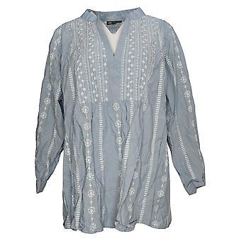 DG2 by Diane Gilman Women's Plus Top Long Sleeve V-Neck Blue 741043