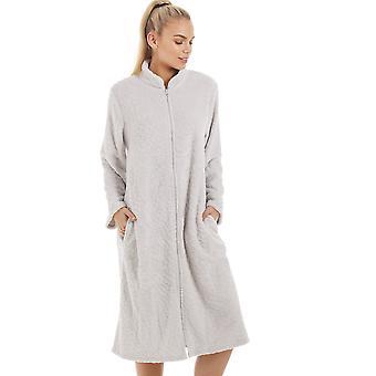 Camille Womens Soft Fleece Zip cinza casa frente brasão