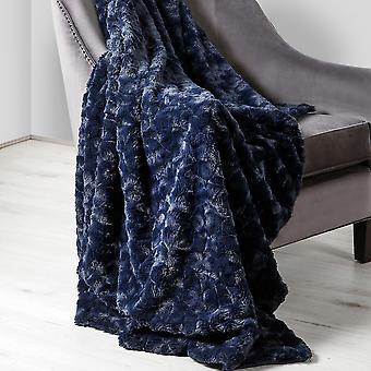 Hepburn Soft Faux Fur Throw In Navy Blue
