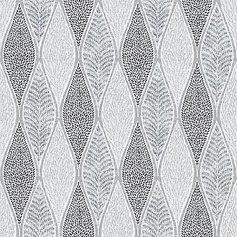 Tempo Grey Leaf Wallpaper
