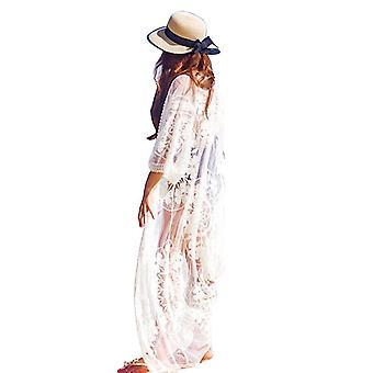 Hollow Out Cardigan Beachwear Lace Embroidery Suncreen Bikini Cover Up
