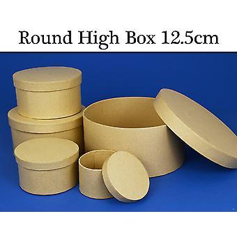 12.5cm Rond High Paper Mache Box avec couvercle pour décorer | Boîtes Papier Mache