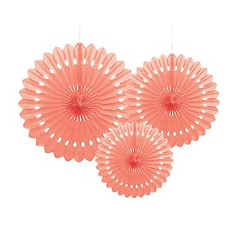 3 Peach Assorted Size Hanging Tissue Paper Fans
