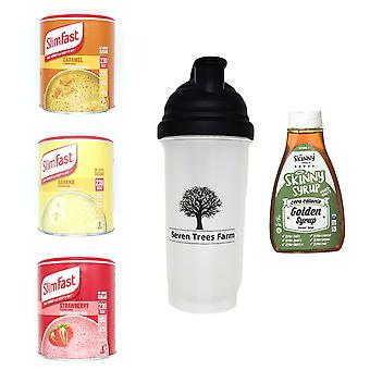Seven Trees Farm Kit with 5 products | 1 x Caramel, 1 x Banana, 1 x Strawberry Shakes, 1 x Shaker and 1 x Golden Syrup, Be skinny and healthy!
