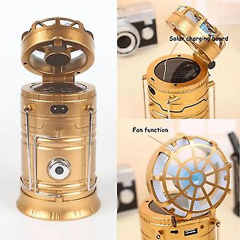 Solar Portable 6 Led Light Rechargeable Solar Camping Lantern Camping Hiking Lamp(gold)
