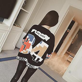 Autumn Women Loose Long Sleeves Round Collar Letters Prints Knitted Sweater