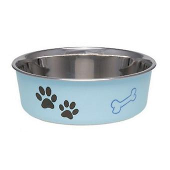 """Loving Pets Stainless Steel & Light Blue Dish with Rubber Base - Small - 5.5"""" Diameter"""