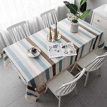 Einfache Esstischdecke, rechteckige Küchentischdecke, gestreifte Gartentischdecke mit Pompon Dekoration (140 * 140cm) blau und weiß