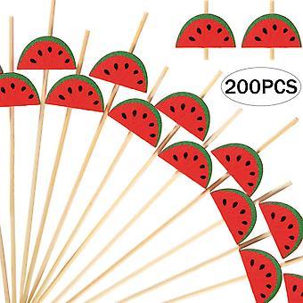 200pcs קוקטייל קיסמי שיניים במבוק טבעי בעבודת יד למתאבנים פירות קינוח