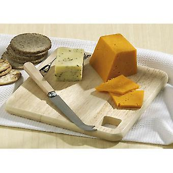 Square Cheese Cutting Board Ruberwood With Cheese Knife Set