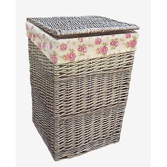 Small Square Laundry Basket With Garden Rose Lining