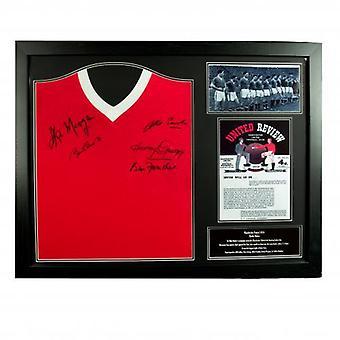 Manchester United 1958 Busby Babes signiertes Trikot (gerahmt)