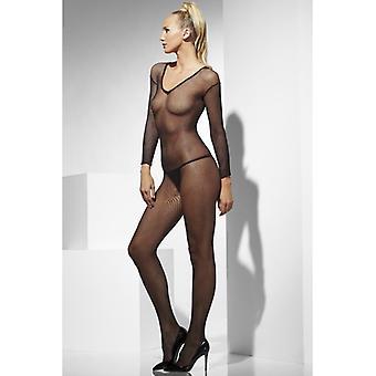 Catsuit סקסית חליפה שחור בסדר רשת כל הגוף