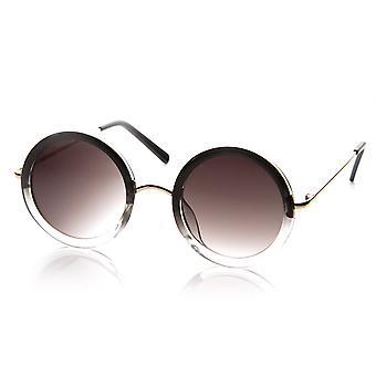 Womens Fashion Circle Round Fade Two-Tone Sunglasses