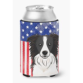 American Flag and Border Collie Can or Bottle Hugger