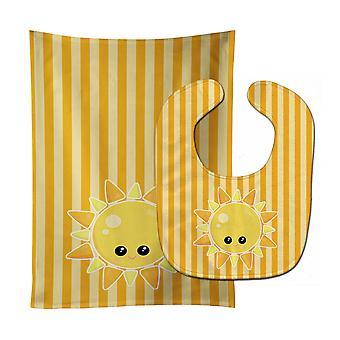 Каролинских сокровища BB7155STBU Погода солнце лицо ребенок нагрудник & Берп Ткань